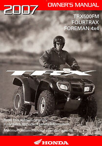 2007 honda trx 500 owners manual